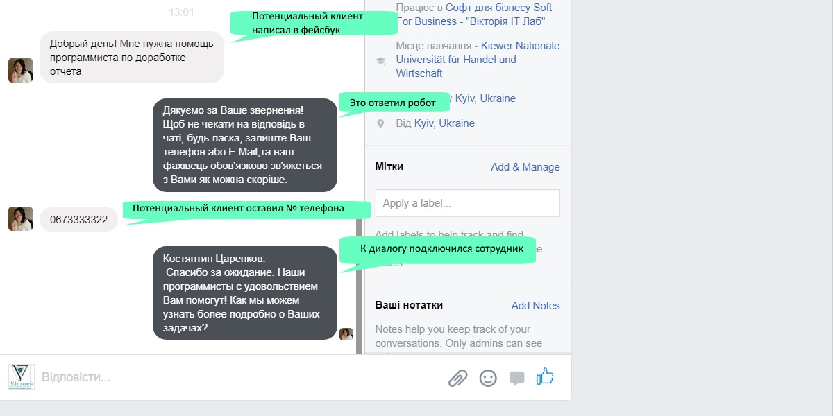 Переписка с посетителем страницы в Фейсбук в чате открытой линии со стороны посетителей страницы